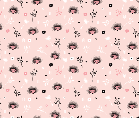 Soft pink hedgehog flowers spring illustration print for girls fabric by littlesmilemakers on Spoonflower - custom fabric