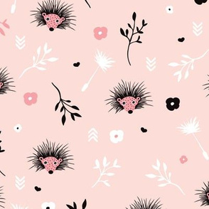 Soft pink hedgehog flowers spring illustration print for girls