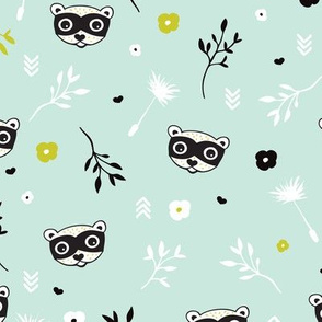 Cute spring flowers and woodland animals raccoon skunk gender neutral illustration print