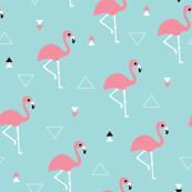 Geometric summer flamingo beach theme in aqua and pink
