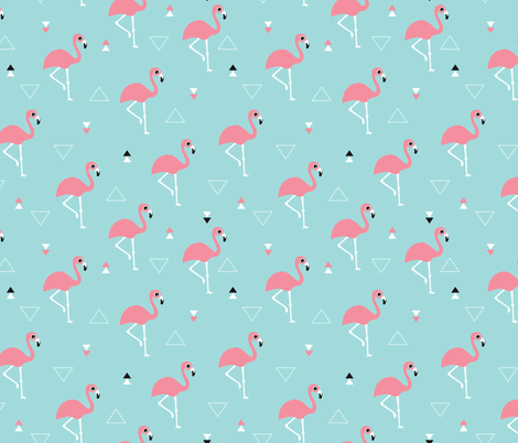 Geometric summer flamingo beach theme in aqua and pink fabric by littlesmilemakers on Spoonflower - custom fabric