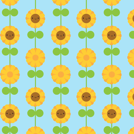 Kawaii Sunflower Stripe (Blue) fabric by marcelinesmith on Spoonflower - custom fabric