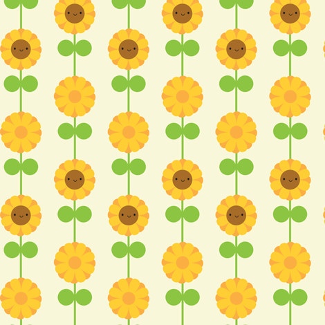 Kawaii Sunflower Stripe (Cream) fabric by marcelinesmith on Spoonflower - custom fabric