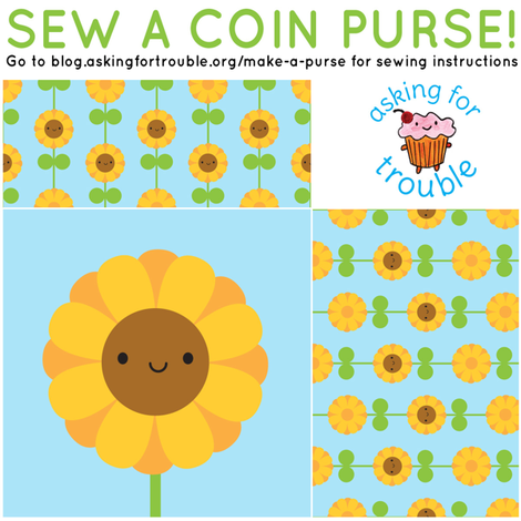 Sunflower Coin Purse - Cut & Sew Pattern fabric by marcelinesmith on Spoonflower - custom fabric
