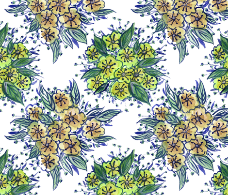 Watercolour Flowers Tile - Green fabric by bee3 on Spoonflower - custom fabric