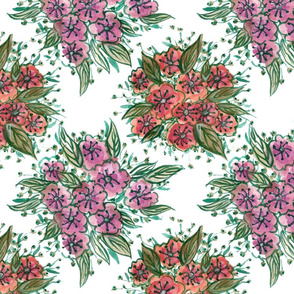 Watercolour Flower Tiles - Pink