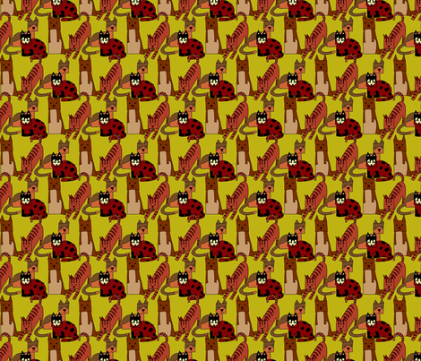 The other cubist cats fabric by linsart on Spoonflower - custom fabric
