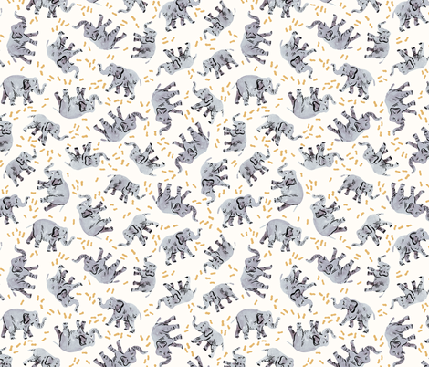Elephants Love Peanuts fabric by imaginaryanimal on Spoonflower - custom fabric