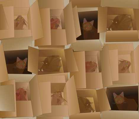 Cubist_Cats_in_Cardboard_Boxes fabric by relk on Spoonflower - custom fabric