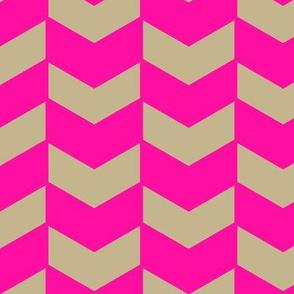 Herringbone Neon Pink and Natural