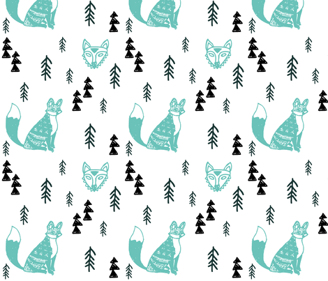 Forest Foxes White fabric by littlemarytradingco on Spoonflower - custom fabric