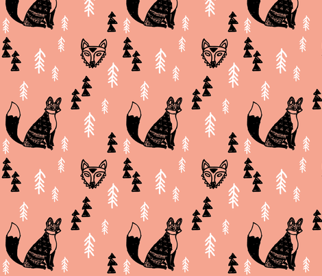 Forest Foxes Apricot fabric by littlemarytradingco on Spoonflower - custom fabric