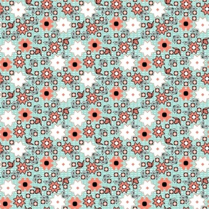 coral_mint_black_white_flowers_2