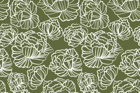 Sketched Peonies, Olive fabric by kateriley on Spoonflower - custom fabric