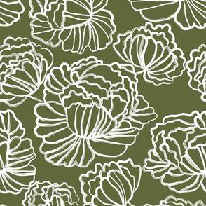 Sketched Peonies, Olive