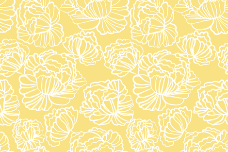 Sketched Peonies, Sunshine fabric by kateriley on Spoonflower - custom fabric