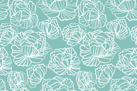 Sketched Peonies, Aqua fabric by kateriley on Spoonflower - custom fabric