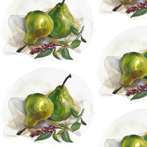 two pears with basil