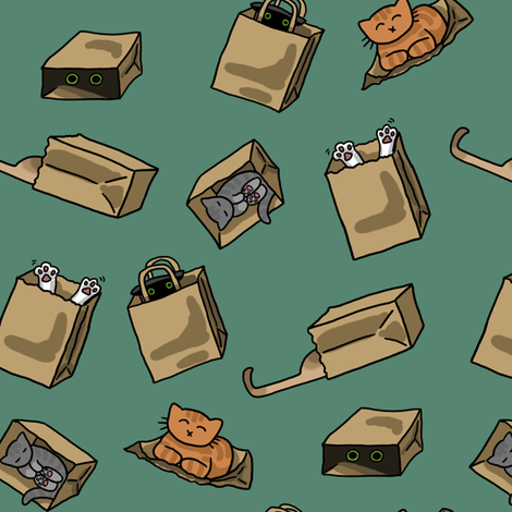 Cats N Bags fabric by amber_morgan on Spoonflower - custom fabric