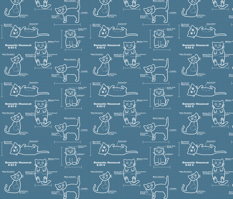 Cat BluePrints fabric by amber_morgan on Spoonflower - custom fabric