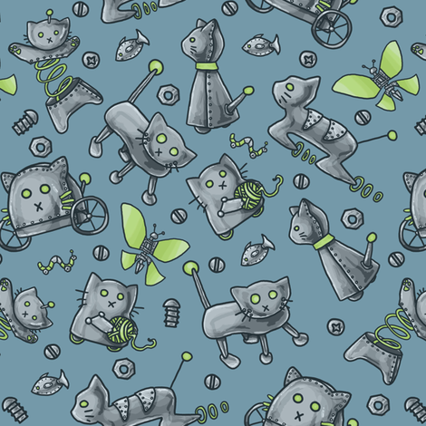 Robot Cats fabric by amber_morgan on Spoonflower - custom fabric