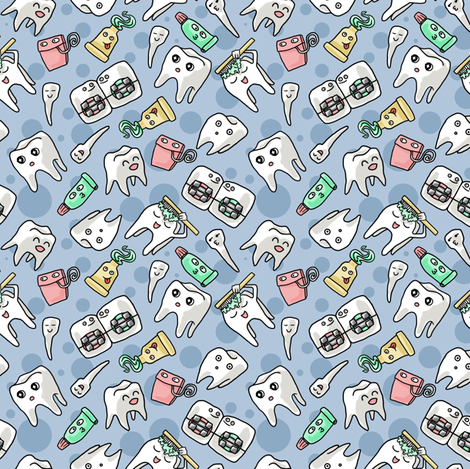 Cutie Toothie fabric by amber_morgan on Spoonflower - custom fabric