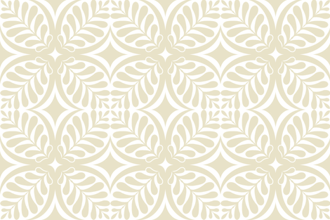 Fern Block Cream fabric by littlerhodydesign on Spoonflower - custom fabric