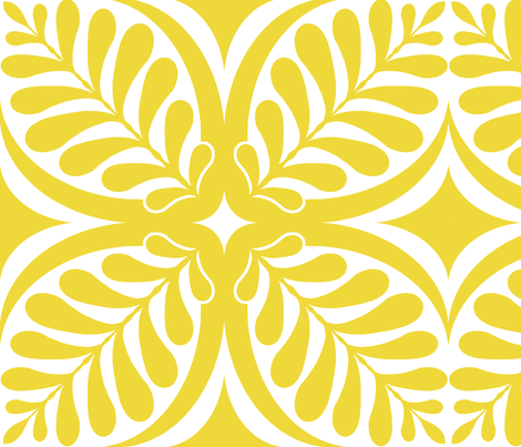 Fern Block Yellow fabric by littlerhodydesign on Spoonflower - custom fabric
