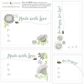 RP Quilt Fabric Labels_Bee Happy_MutedColors