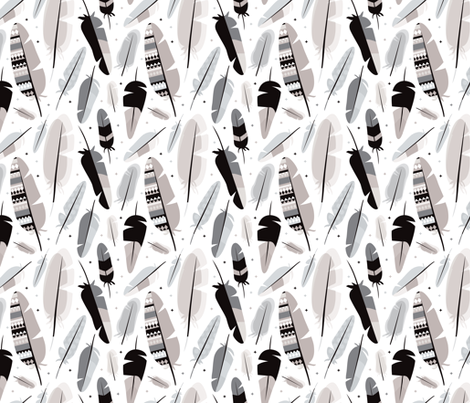 Geometric tossed indian summer feathers scandinavian style trendy gender neutral aztec details in nude beige white and black fabric by littlesmilemakers on Spoonflower - custom fabric