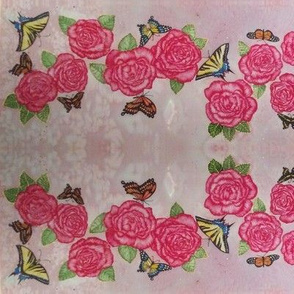 Roses and Swallow tail butterflies