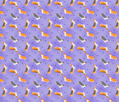 Tiny Pembrokes - purple fabric by rusticcorgi on Spoonflower - custom fabric