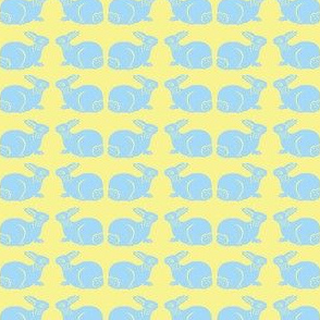 Pastel Blue Bunnies on Yellow