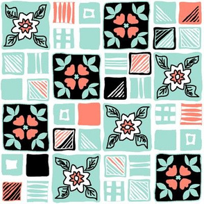 coral_mint_black_white_tiles_4x4_3a