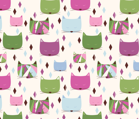 Fancy Cats (cool) fabric by oliveandruby on Spoonflower - custom fabric