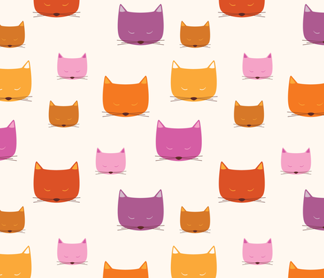 Warm Cats fabric by oliveandruby on Spoonflower - custom fabric