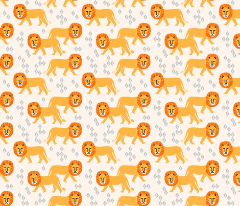 Safari Lion - Champagne/Turmeric/Cadmium Orangeby Andrea Lauren (Smaller) fabric by andrea_lauren on Spoonflower - custom fabric