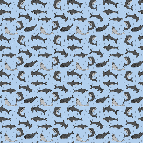 Sharks Shark Fabric Handdrawn Shark Pattern For Boys Kids Room Beauteous Shark Pattern
