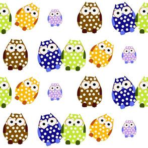 Polka Dot Owls Multicolor
