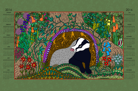 Badger 2016 T-towel fabric by linsart on Spoonflower - custom fabric