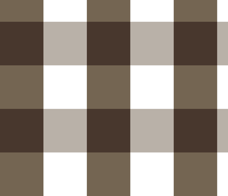 Gingham ~ Chocolat, Rocaille, Penistone Crag and White ~ medium fabric by peacoquettedesigns on Spoonflower - custom fabric