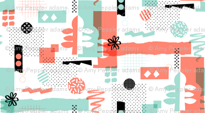 Cut & Paste || collage paper leaves abstract organic dots flower halftone screen craft Memphis graph grid geometric coral mint