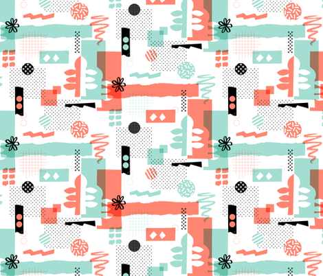 Cut & Paste || collage paper leaves abstract organic dots flower halftone screen craft Memphis graph grid geometric coral mint fabric by pennycandy on Spoonflower - custom fabric