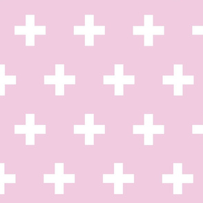 Swiss Cross White on Pink