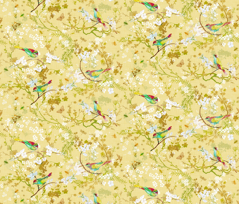 Bird + the Bees (Butter Yellow) MED fabric by nouveau_bohemian on Spoonflower - custom fabric