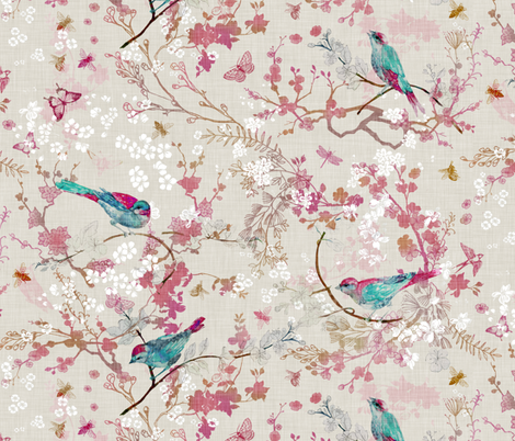 Birds + Bees (Rose) (MED) fabric by nouveau_bohemian on Spoonflower - custom fabric