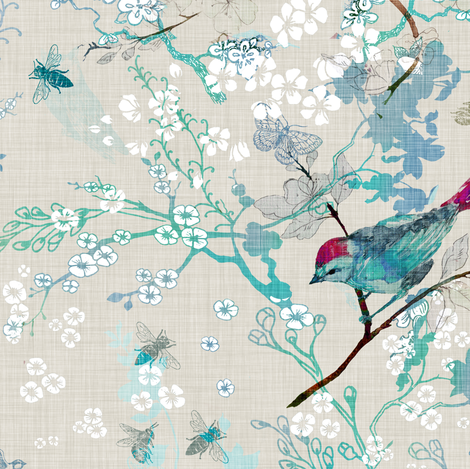 Birds + the Bees  (Aqua) MED fabric by nouveau_bohemian on Spoonflower - custom fabric