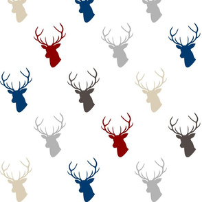 Red Navy Gray Deer