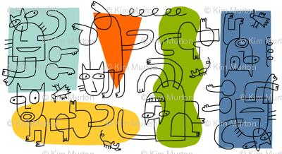 cubist cats outline