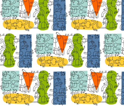 cubist cats outline fabric by kimmurton on Spoonflower - custom fabric
